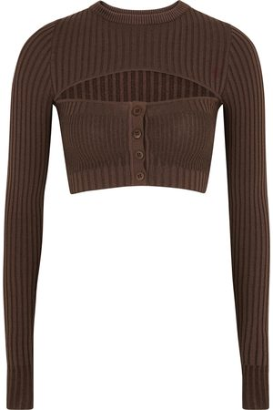 Andrea Adamo Women Tops - Cut-out cropped ribbed-knit top
