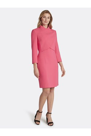 Tahari ASL Women Asymmetrical Dresses - Double-Weave Wrap Jacket Dress Skirt Suit Neon Coral Asymmetric Size: 10