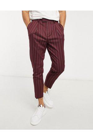 ASOS Tapered smart pants in burgundy stripe