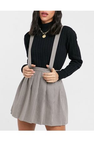 ASOS Pinafore with pleated skirt in dogstooth print-Multi