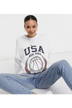 ASOS ASOS DESIGN Tall oversized sweatshirt with USA baseball print in