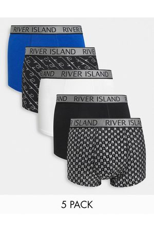 River Island 5-pack boxer briefs in blue-Blues