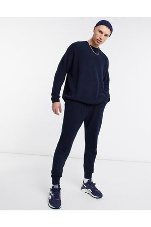 ASOS Ribbed set cotton sweatpants in Navy