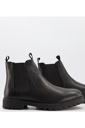 ASOS Wide Fit chelsea boots in leather with chunky sole