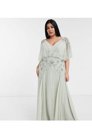 ASOS ASOS DESIGN Curve floral embellished cape maxi dress in mint-Multi