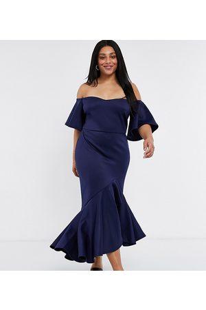 True Violet Bardot midi dress with pephem in navy