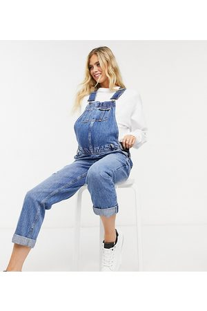 River Island Denim overalls in mid auth blue-Blues