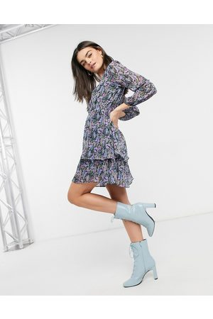 Y.A.S Mini dress with tiering in purple and blue floral print-Multi