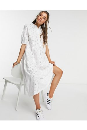 ASOS Broderie midi tiered shirt dress with short sleeves in