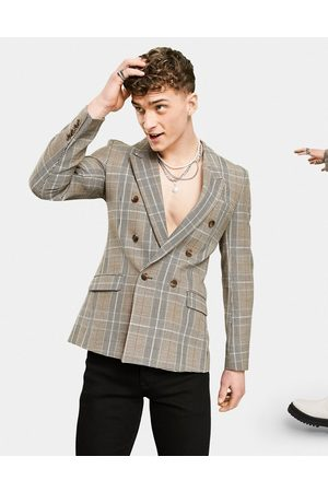 ASOS Skinny double breasted blazer with Prince of Wales check in -Grey