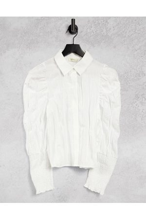 Ghospell Textured shirt with puff sleeves in off