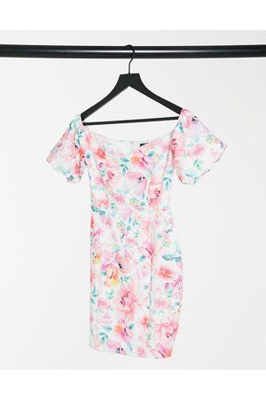 Lipsy London Bardot midi dress in floral-Multi