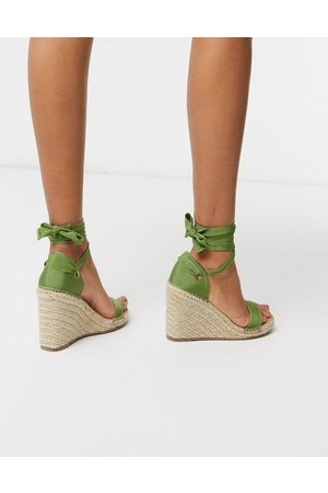 ASOS Treat tie leg espadrille wedge sandals in khaki