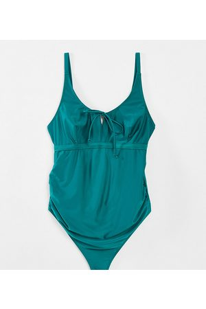 Wolf & Whistle Maternity Exclusive swimsuit with tie detail in