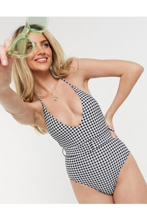 New Look Belted swimsuit in gingham-Multi
