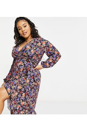 Yours Ruffle wrap dress in & red floral