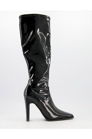 ASOS Champion square toe knee high heeled boots in patent