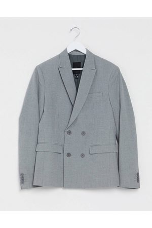 New Look Slim double breasted blazer in -Grey