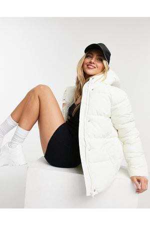 Monki Rino recycled drawstring padded jacket with hood in off