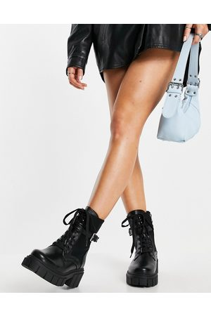 SIMMI Shoes Simmi London chunky lace up boots with buckles in