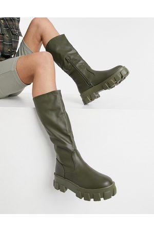 Public Desire Karma knee boots in khaki