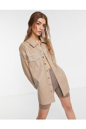 In The Style X Olivia Bowen PU oversized shacket in stone