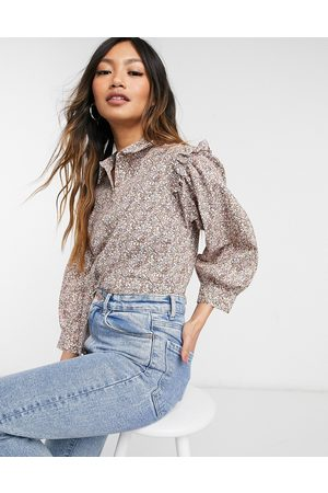 Y.A.S Shirt with frill shoulders in floral print-Multi