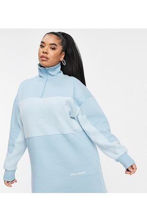 COLLUSION Plus exclusive half zip dress in teal-Blues