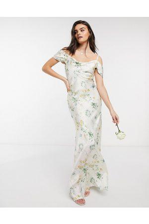 HOPE & IVY Bridesmaid cold shoulder cowl neck maxi dress in ivory based floral-Multi