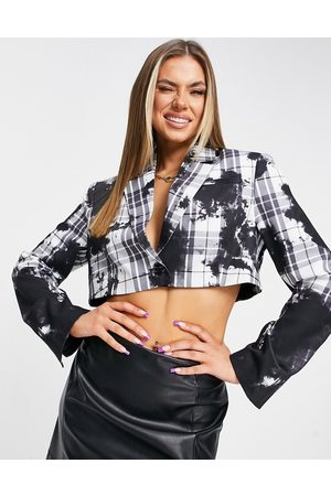 Jaded London Cropped blazer in print - part of a set-Grey