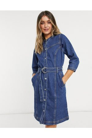 Object Malou Belted Denim Dress in Dark Blue-Blues