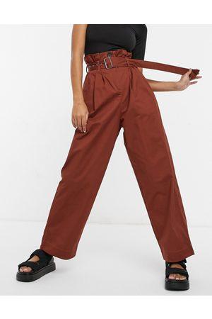 Ghospell Paper-bag waist pants in chocolate