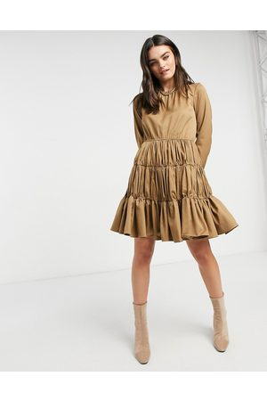 Y.A.S Mini dress with gathered tiering in camel