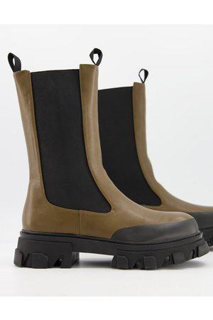 Public Desire Boston chunky chelsea boots in khaki