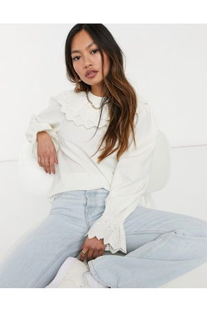 & OTHER STORIES & ruffle and broderie detail blouse in