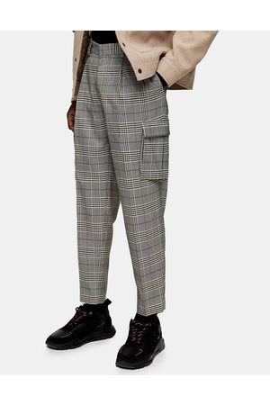 Topman Checked cargo tapered pants in gray-Multi