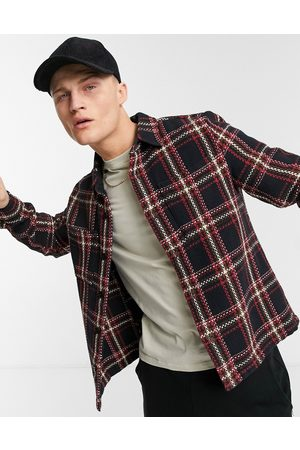 River Island Plaid overshirt in red-Navy