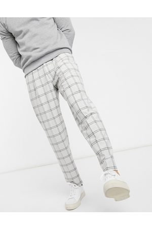 ASOS Oversized tapered smart pants in plaid-Grey