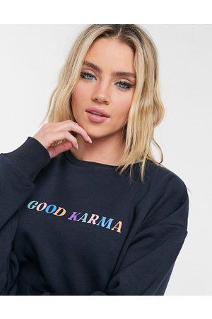 Chelsea Peers Good Karma sweatshirt in dark navy