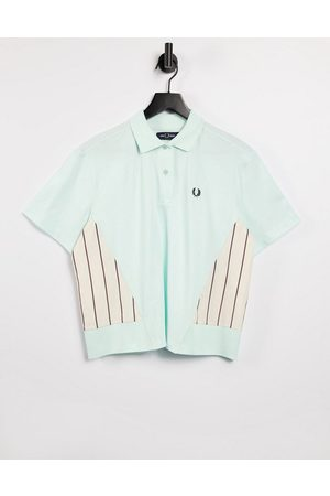 Fred Perry Woven panel polo shirt in brighton blue-Blues