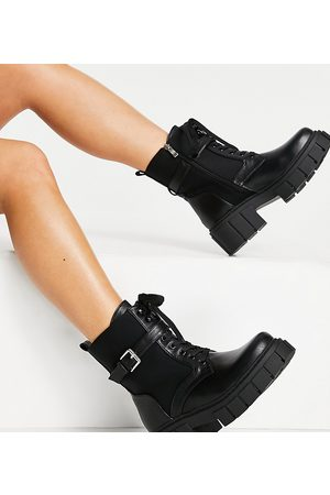 Simmi Wide Fit Simmi London Wide Fit Kai chunky lace up boots with buckles in