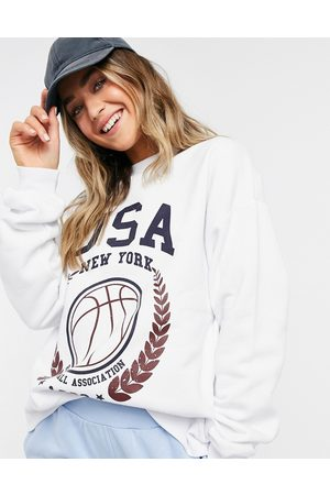 ASOS Oversized sweatshirt with USA baseball print in