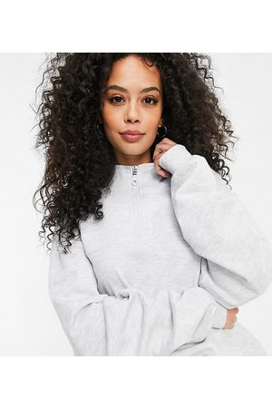 ASOS ASOS DESIGN Tall half zip sweatshirt in heather-Grey