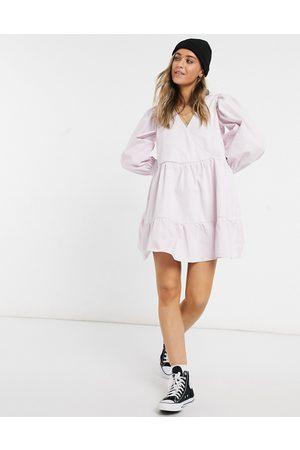 ASOS Denim wrap smock dress lavender