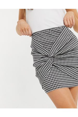 ASOS Bengaline mini skirt with twist detail in gingham check print-Multi