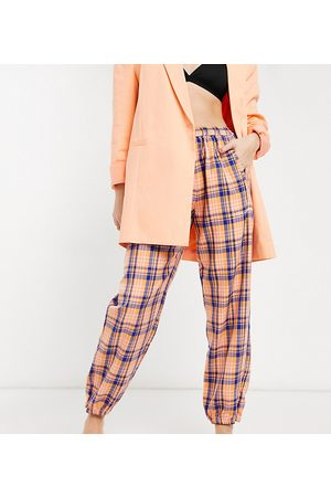COLLUSION Woven joggers in plaid