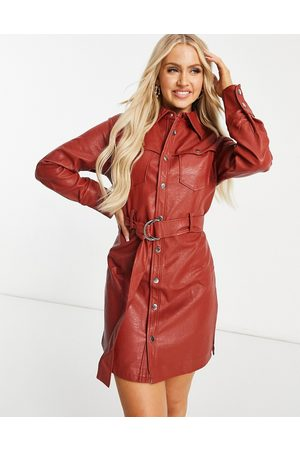 Unique 21 Belted shirt dress in red-Tan