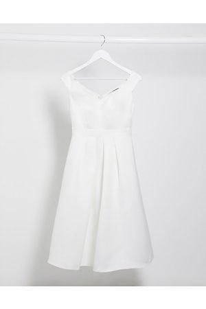 Little Mistress Bridal midi prom dress in off