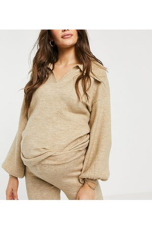 ASOS ASOS DESIGN Maternity sweater with open collar detail in oatmeal - part of a set