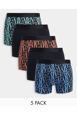 River Island 5 pack monogrammed trunks in
